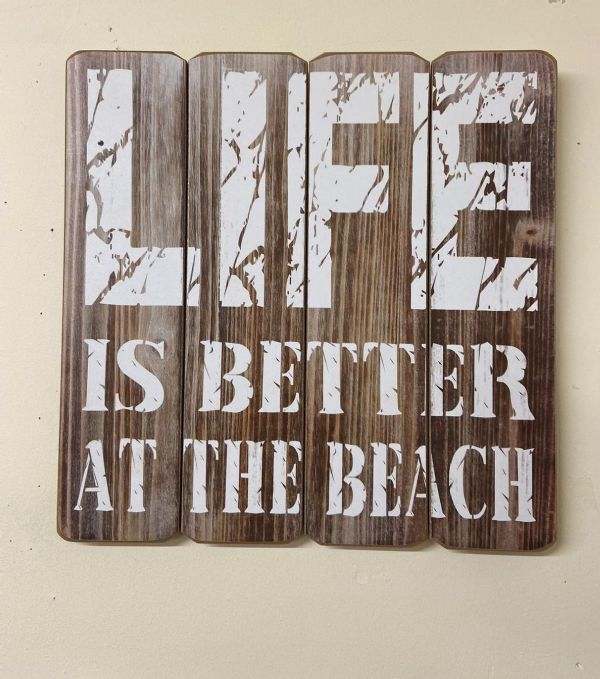 Brown Life Is Better At The Beach 40cm Wooden Quote Wall Art